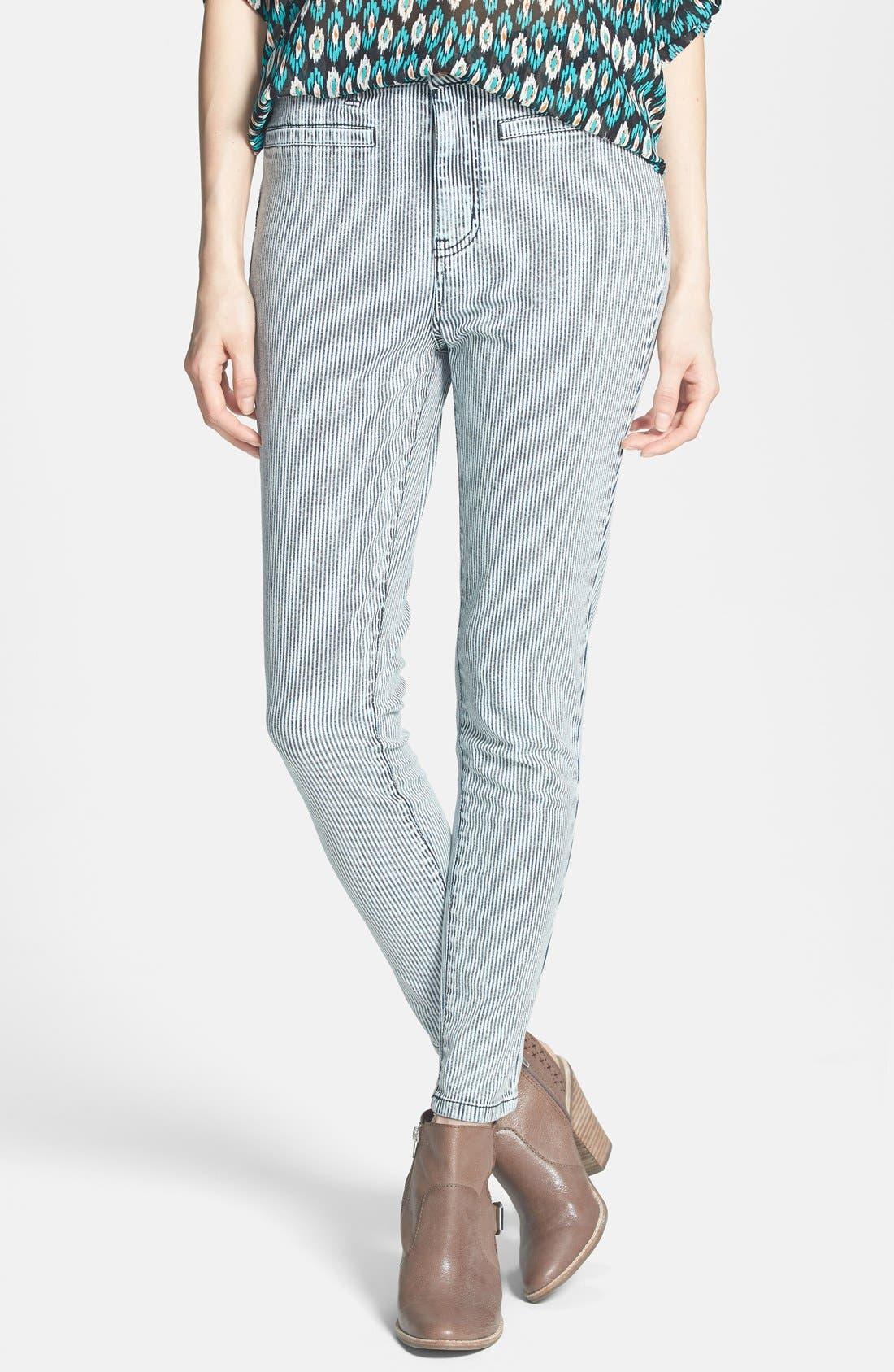 Alternate Image 1 Selected - Fire High Waist Skinny Jeans (Railroad Stripe) (Juniors)