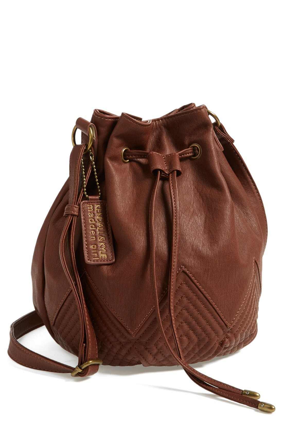 Main Image - KENDALL + KYLIE Madden Girl Quilted Faux Leather Bucket Bag (Juniors)