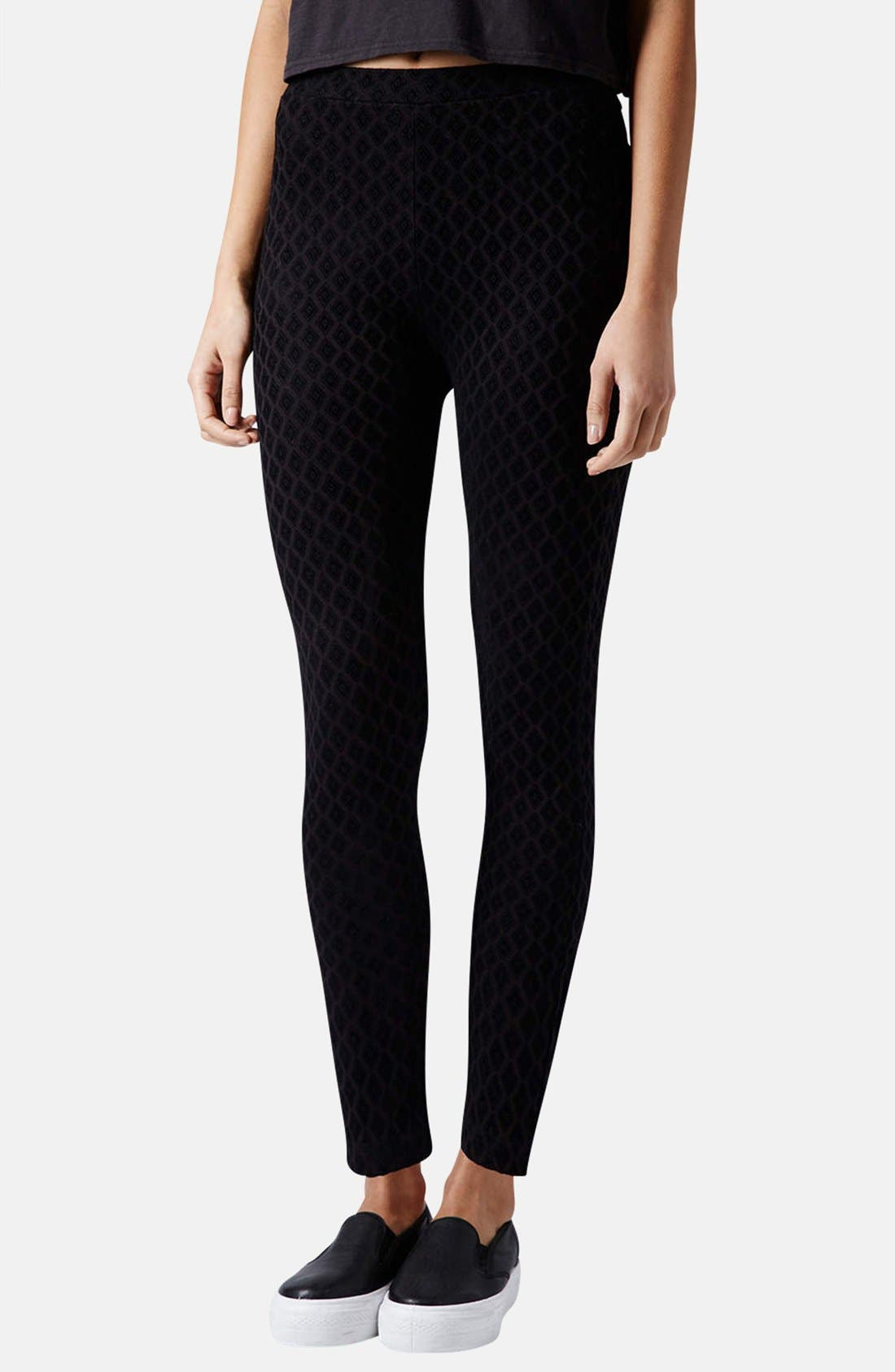 Main Image - Topshop Diamond Flocked Leggings (Petite)