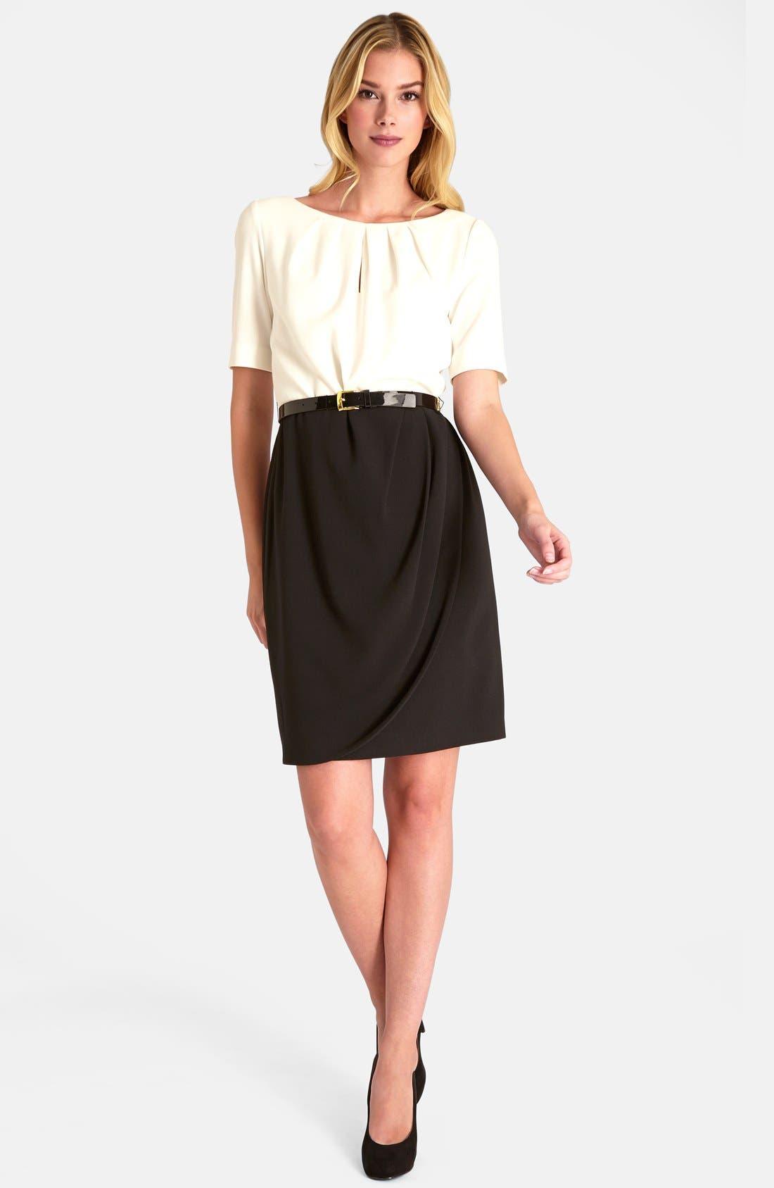 Alternate Image 3  - Tahari Colorblock Stretch Crepe Sheath Dress