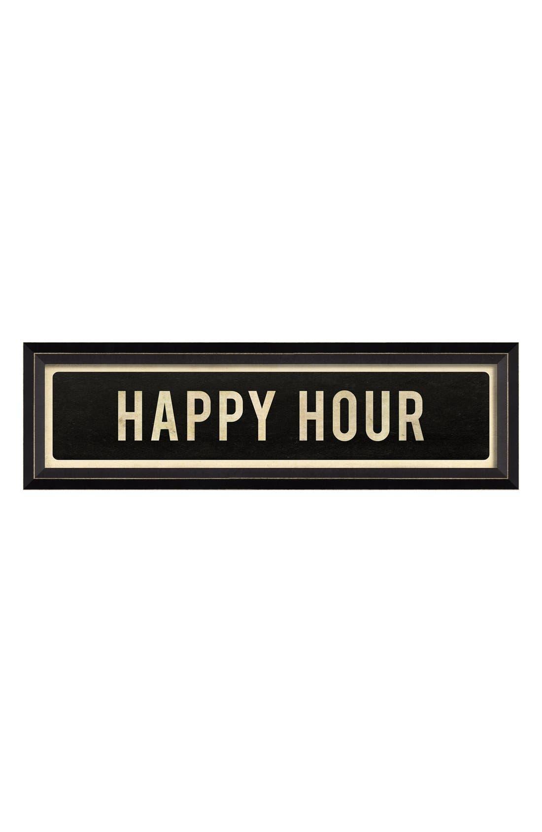'Happy Hour' Vintage Look Street Sign Artwork,                         Main,                         color, Black