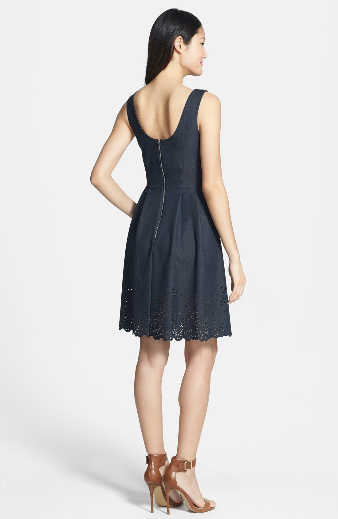 Alternate Image 2  - Betsey Johnson Laser Cut Denim Fit & Flare Dress