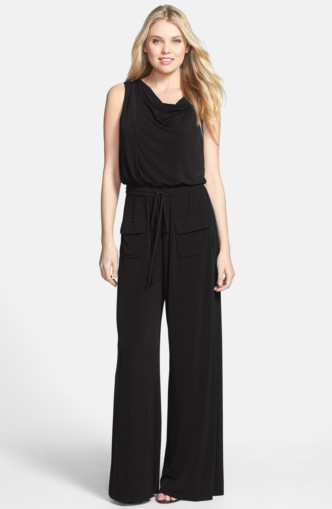 Alternate Image 1 Selected - Vince Camuto Cowl Neck Matte Jersey Jumpsuit