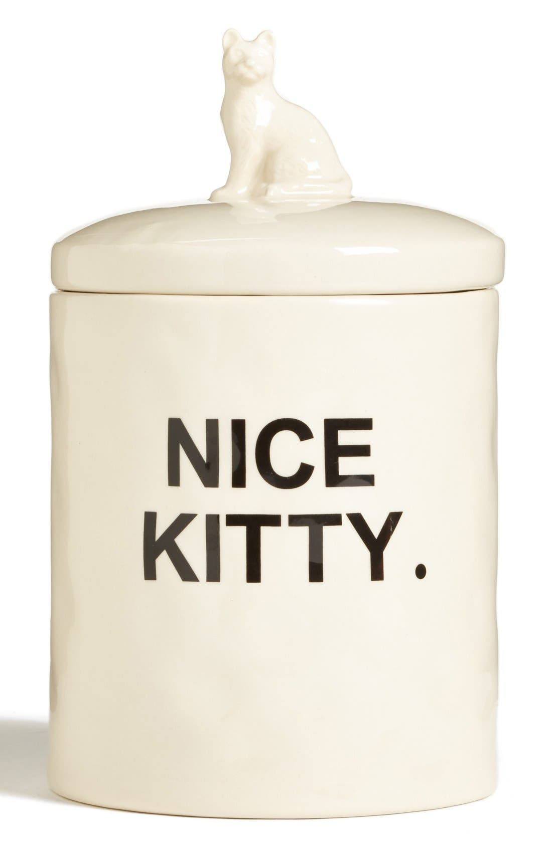 'Fred' Cat Treat Jar,                             Main thumbnail 1, color,                             White