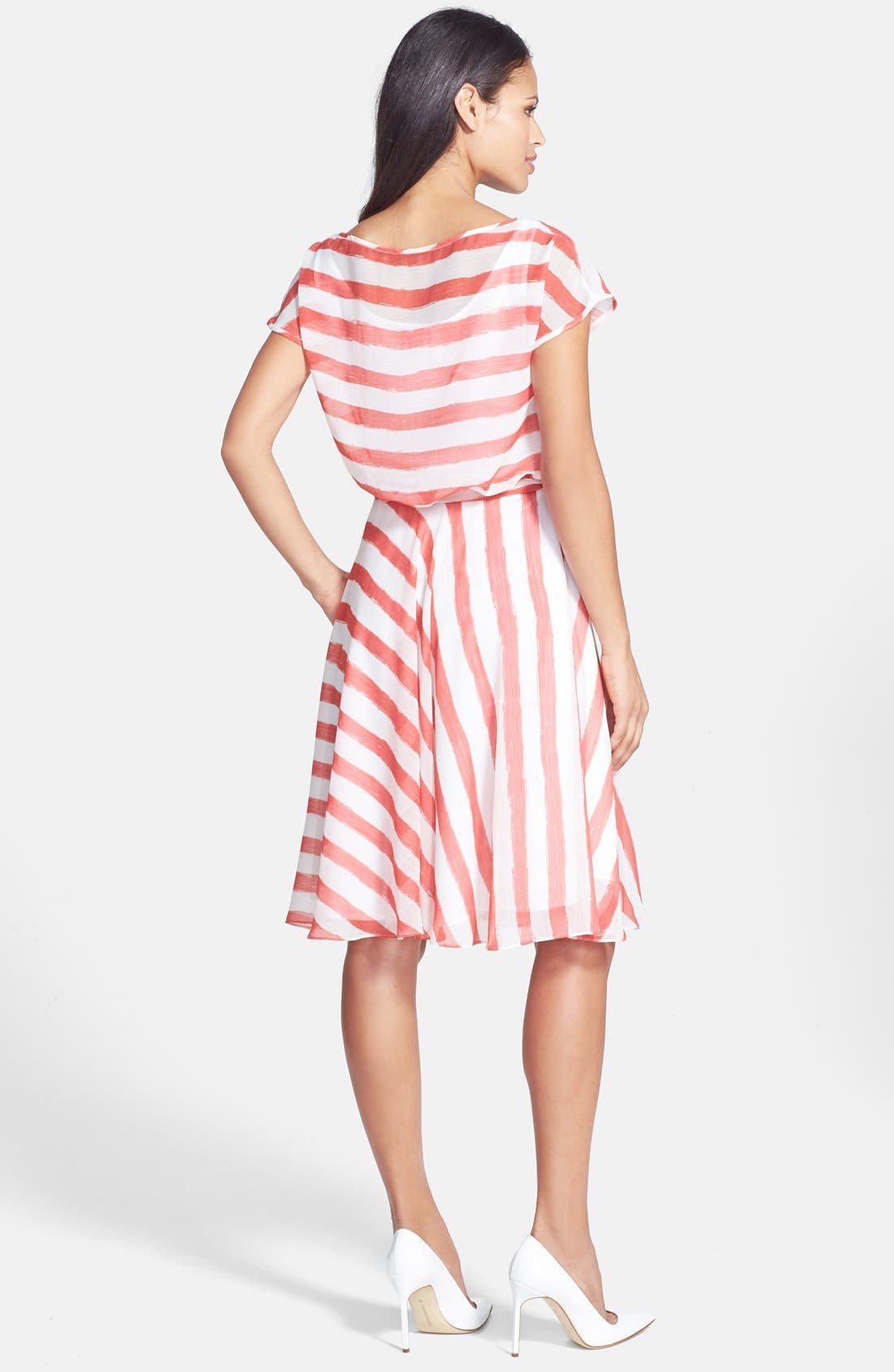 Alternate Image 2  - Isaac Mizrahi New York Belted Stripe Chiffon Dress
