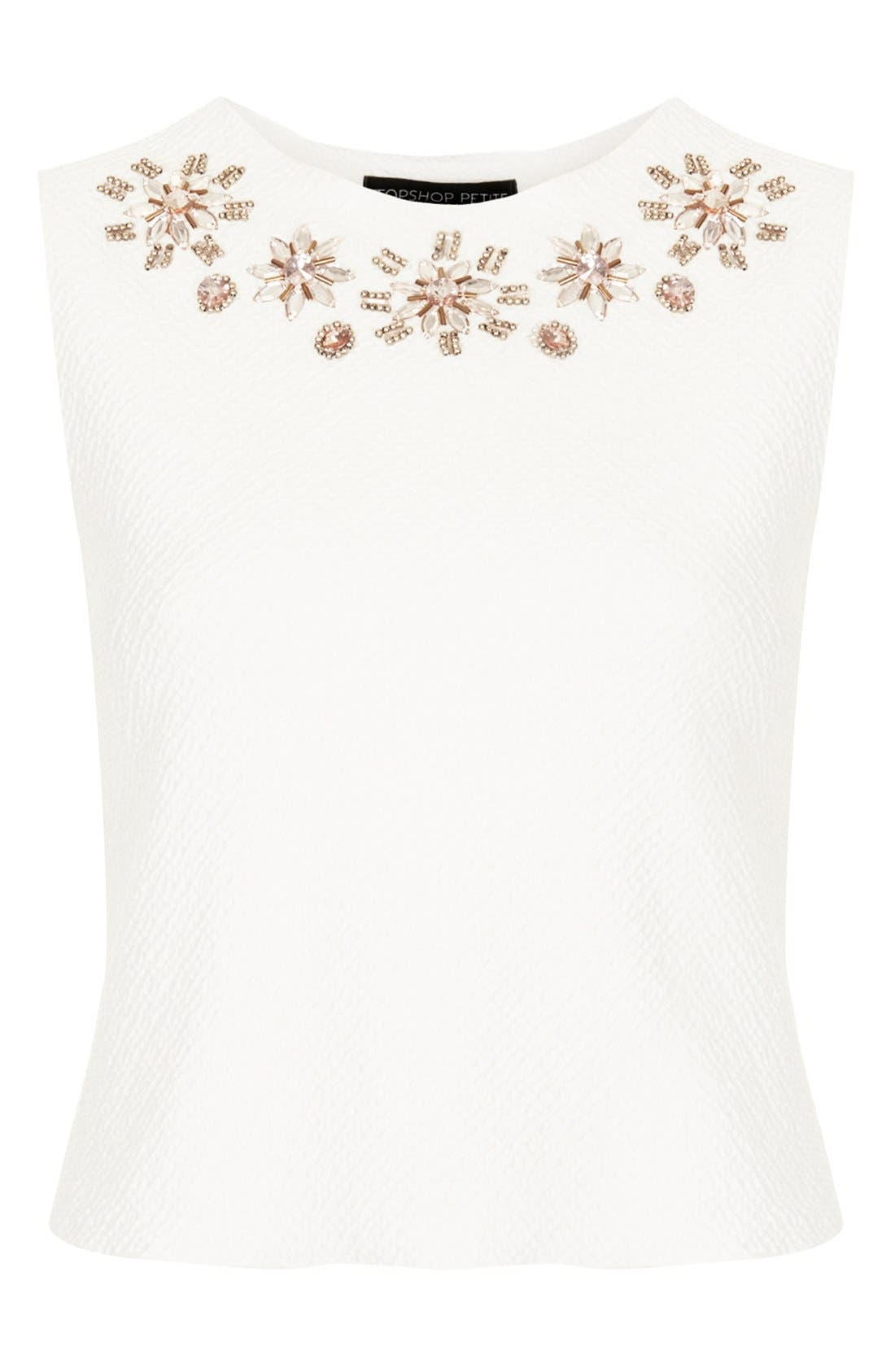 Alternate Image 3  - Topshop Embellished Textured Jersey Shell (Petite)