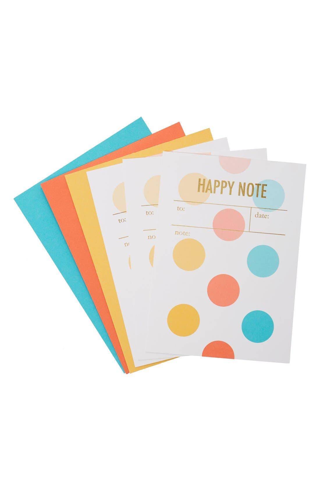 Main Image - Tokketok 'Happy Note' Letterpress Cards & Envelopes (Set of 3)