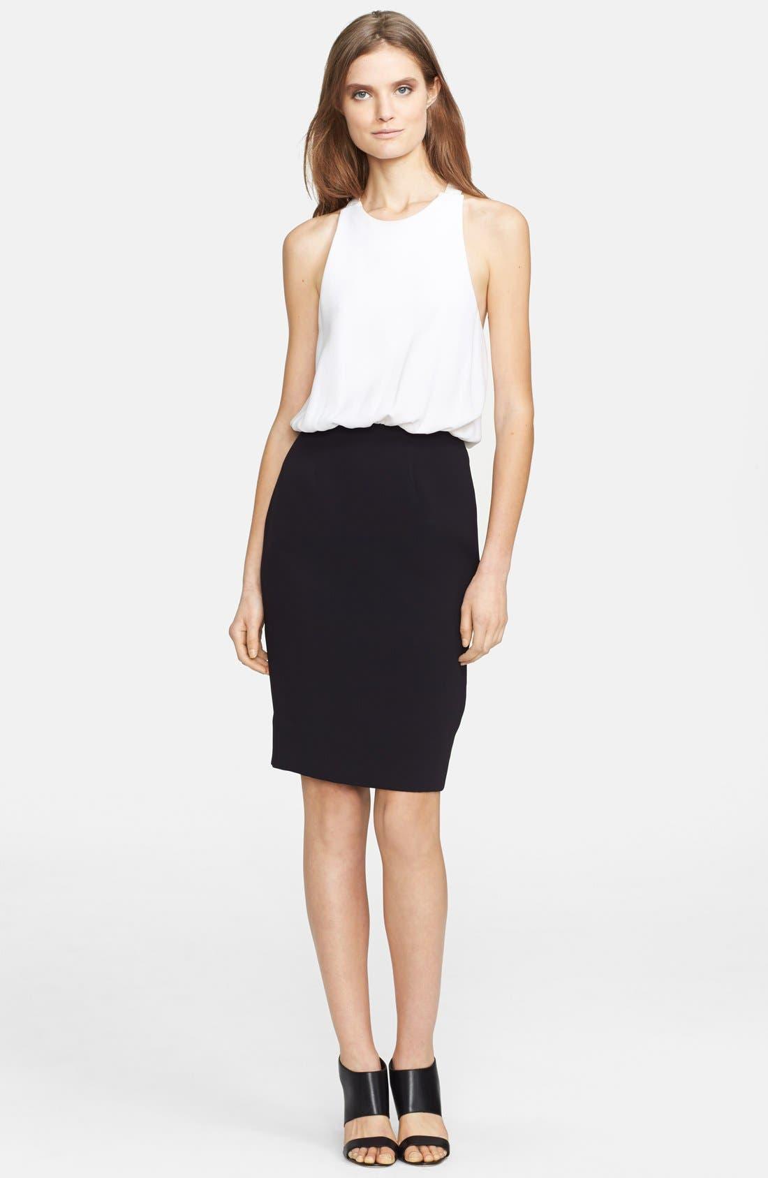 Open Back Crepe Blouson Dress,                         Main,                         color, White/ Black
