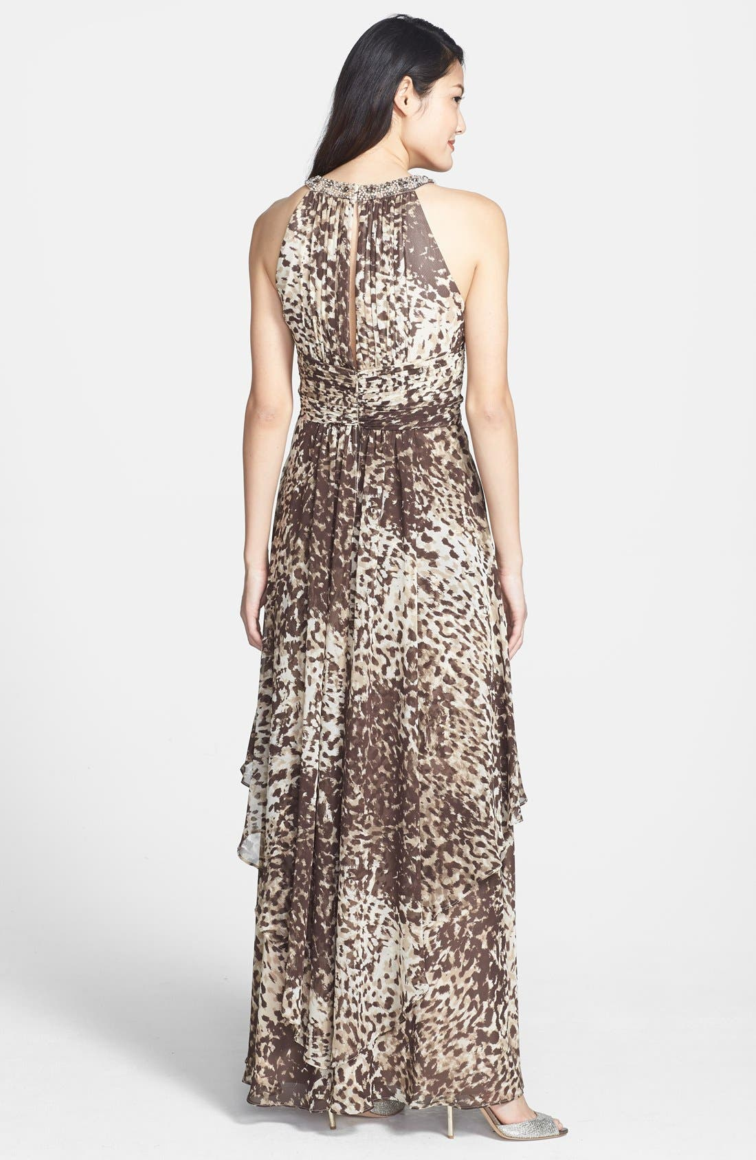 Alternate Image 2  - Eliza J Embellished Cutaway Tiered Chiffon Gown