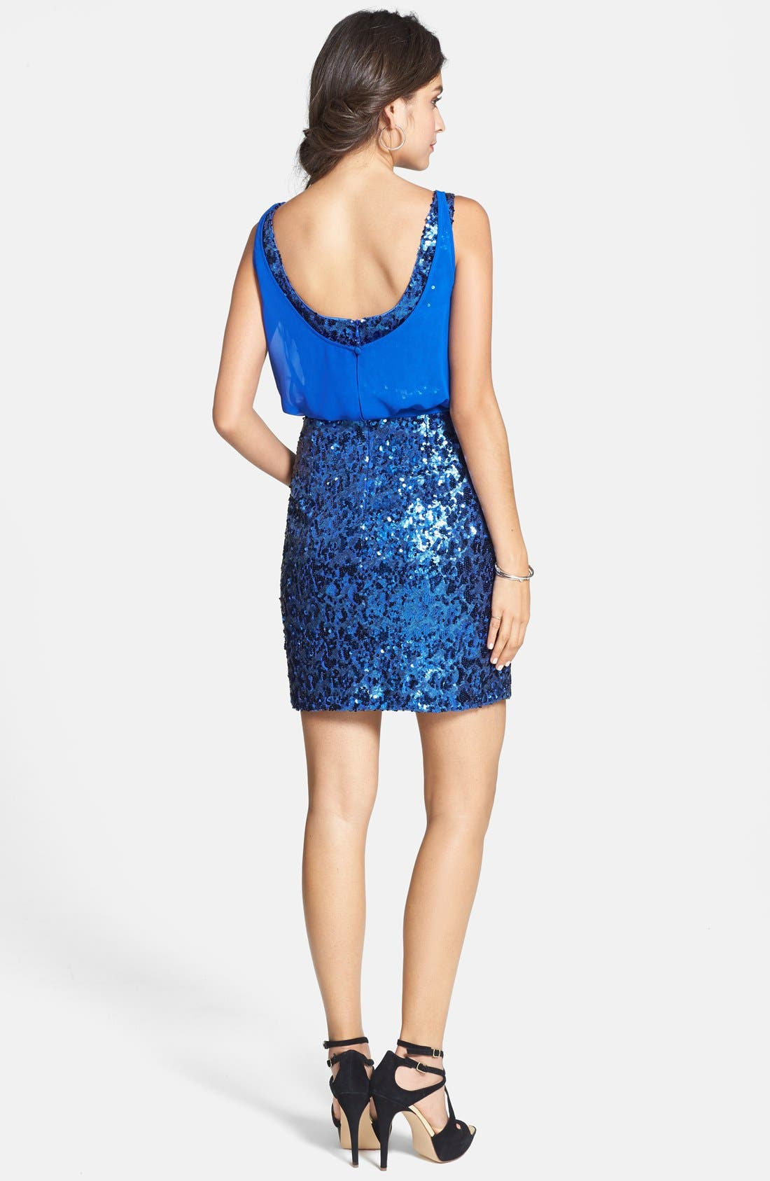 Alternate Image 2  - Aidan by Aidan Mattox Chiffon Overlay Sequin Sheath Dress