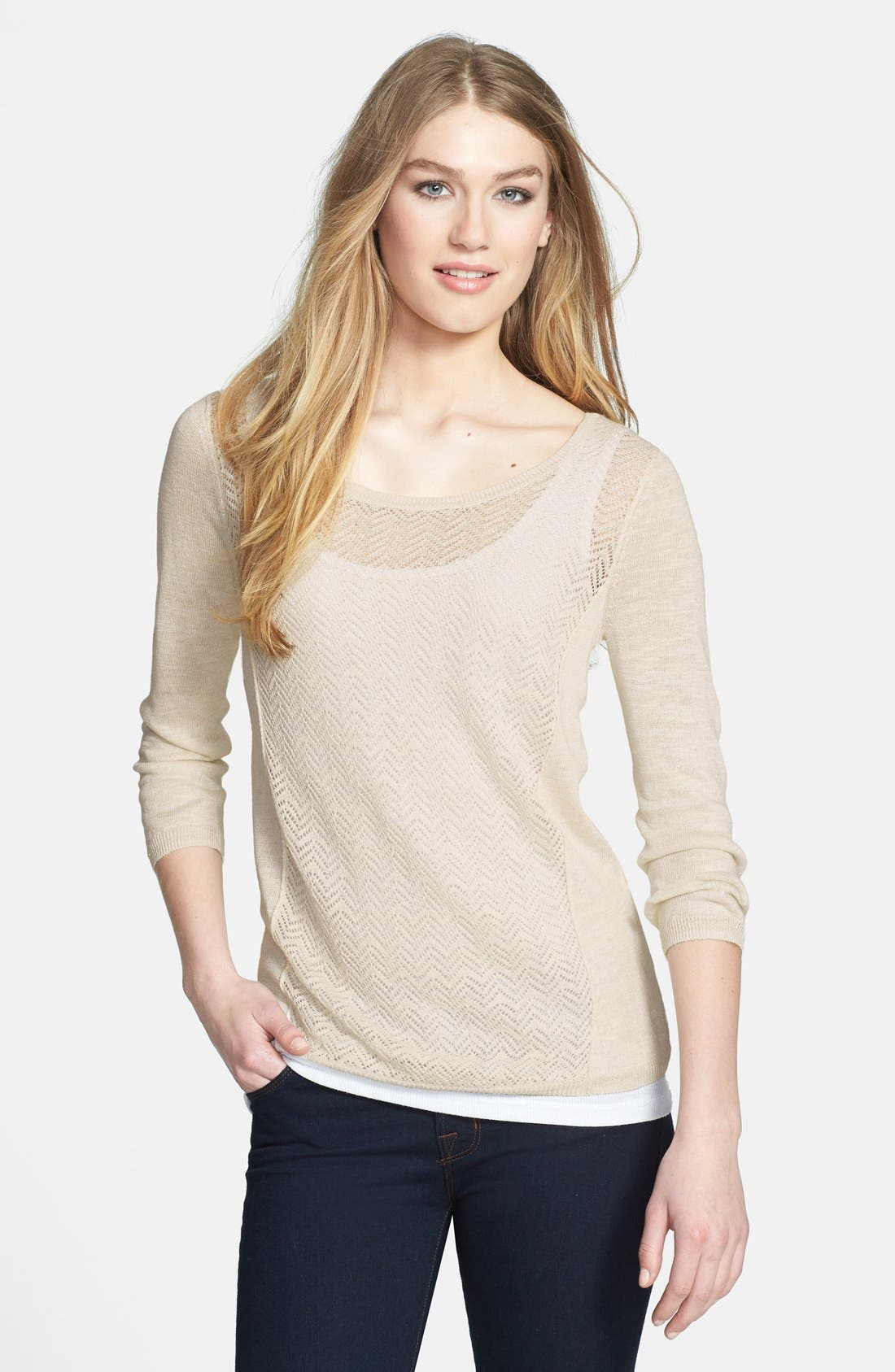 Main Image - Lucky Brand 'Marina' Pointelle Button Back Linen Blend Sweater