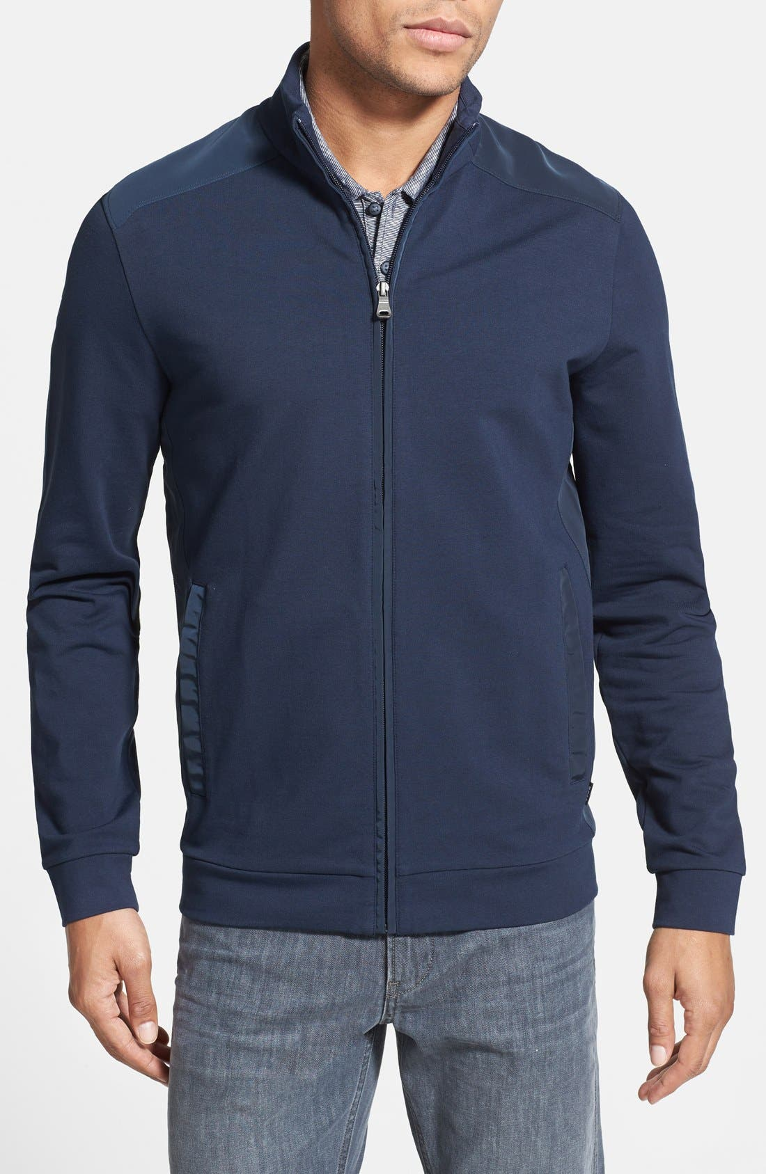 Main Image - BOSS HUGO BOSS 'Cannobio 63' Front Zip Sweater