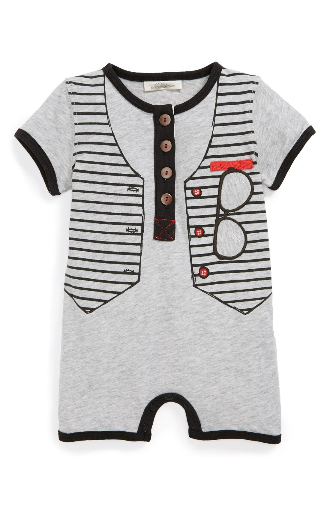Alternate Image 1 Selected - Miniclasix Cotton Romper (Baby Boys)