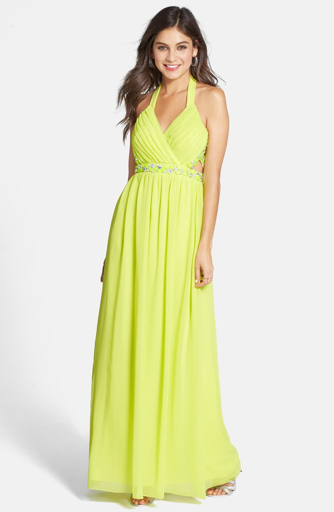 Main Image - Way-In Embellished Cutout Halter Gown (Juniors)
