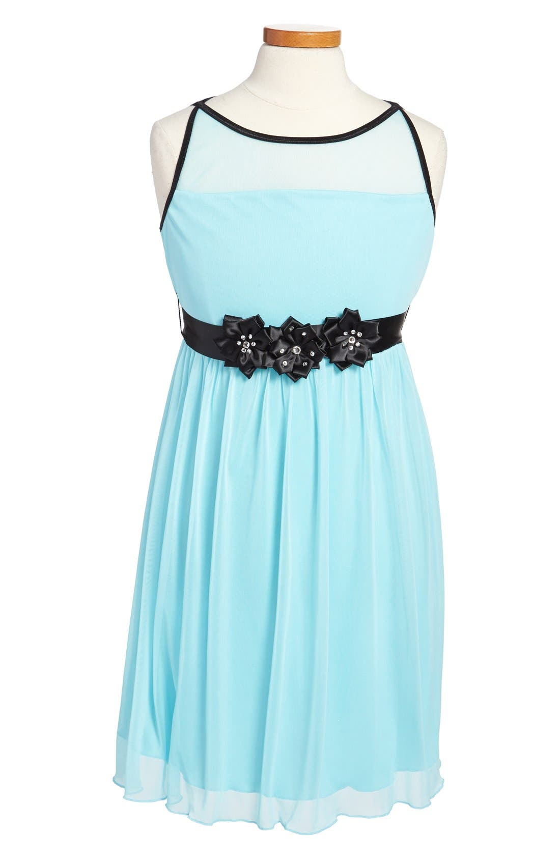 Main Image - Roxette Sleeveless Illusion Bodice Dress (Big Girls)