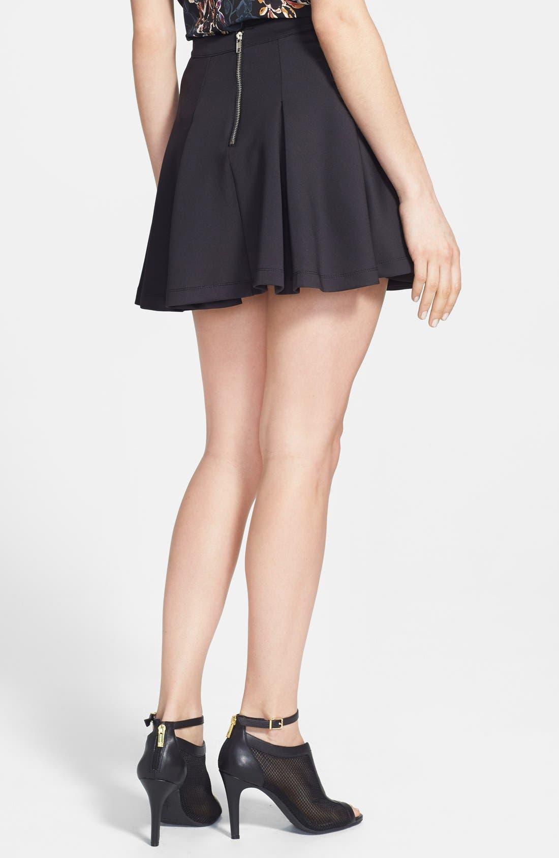 Pleat Jersey Skater Skirt,                             Alternate thumbnail 2, color,                             Black