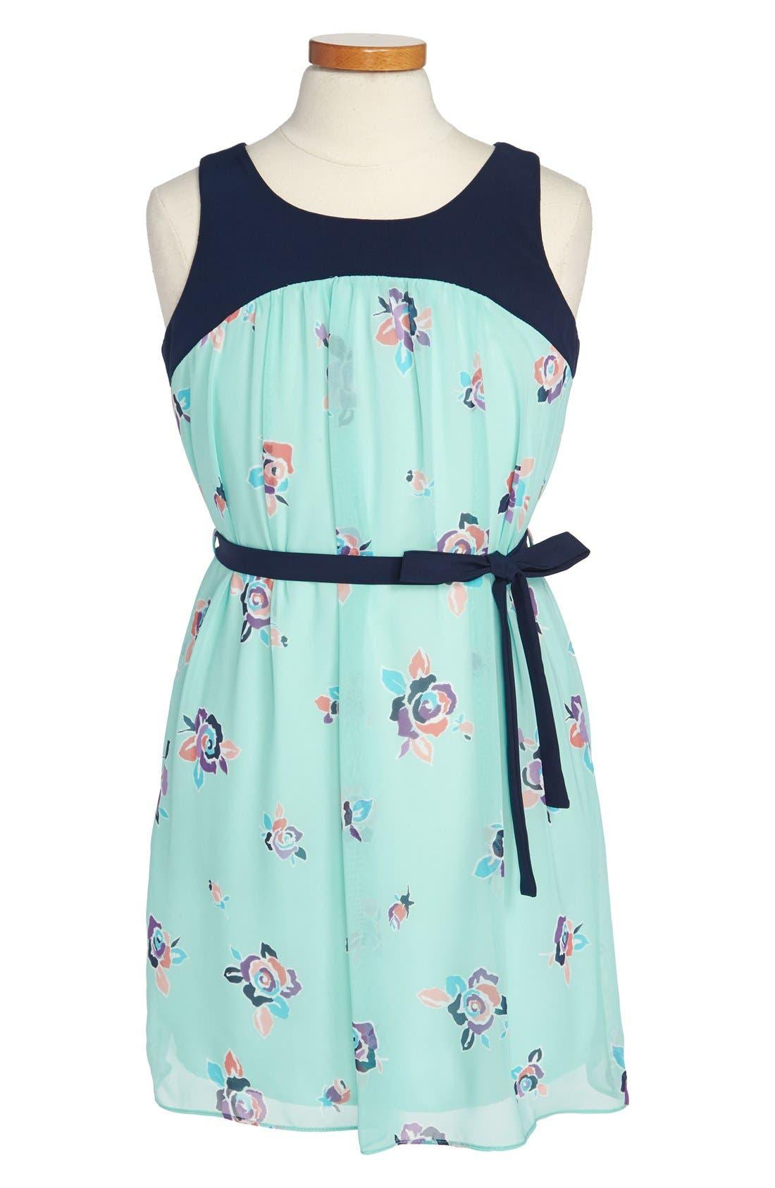 Alternate Image 1 Selected - Soprano Floral Chiffon Dress (Big Girls)