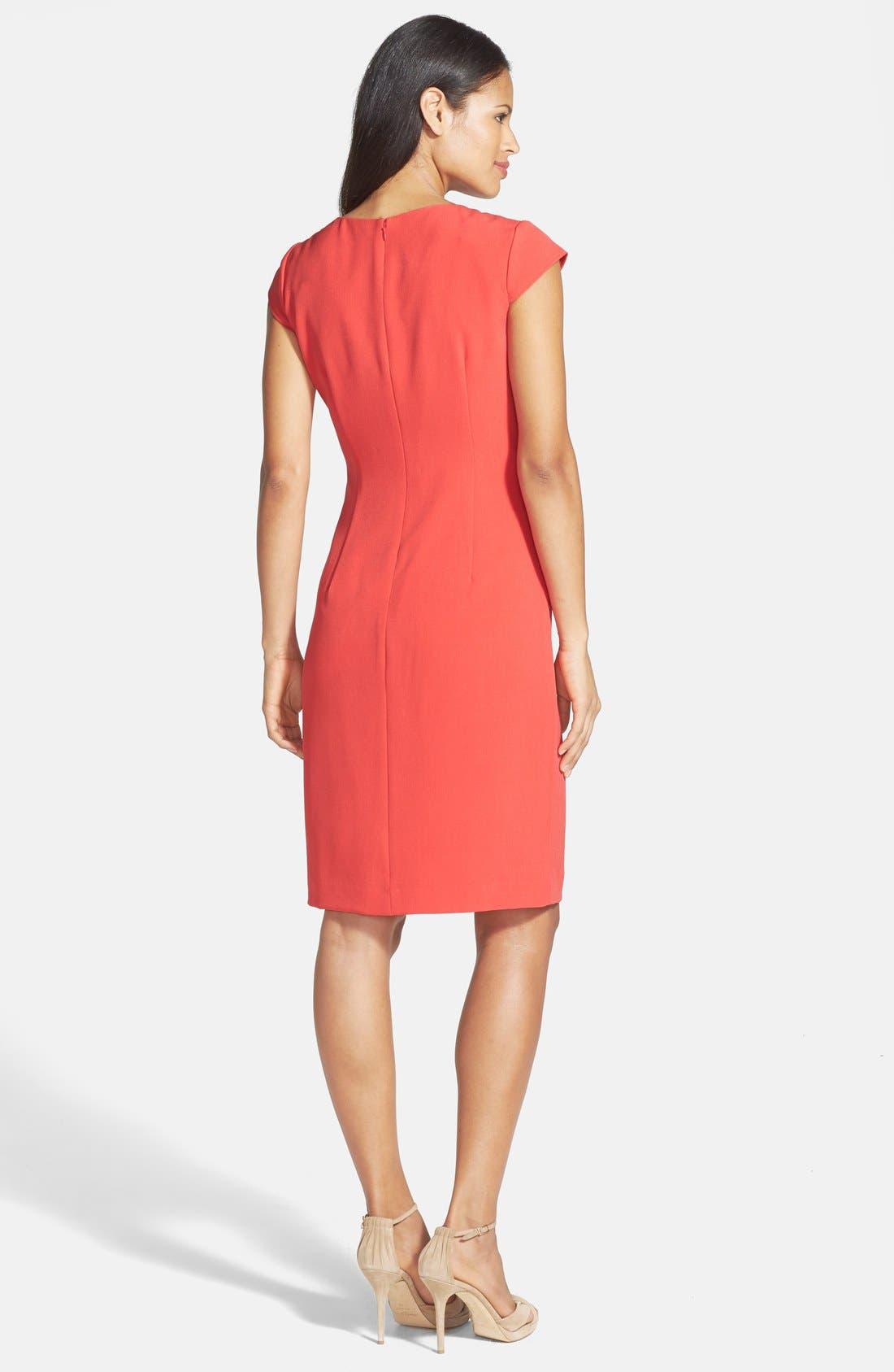 Asymmetric Waist Stretch Crepe Sheath Dress,                             Alternate thumbnail 2, color,                             Cayenne