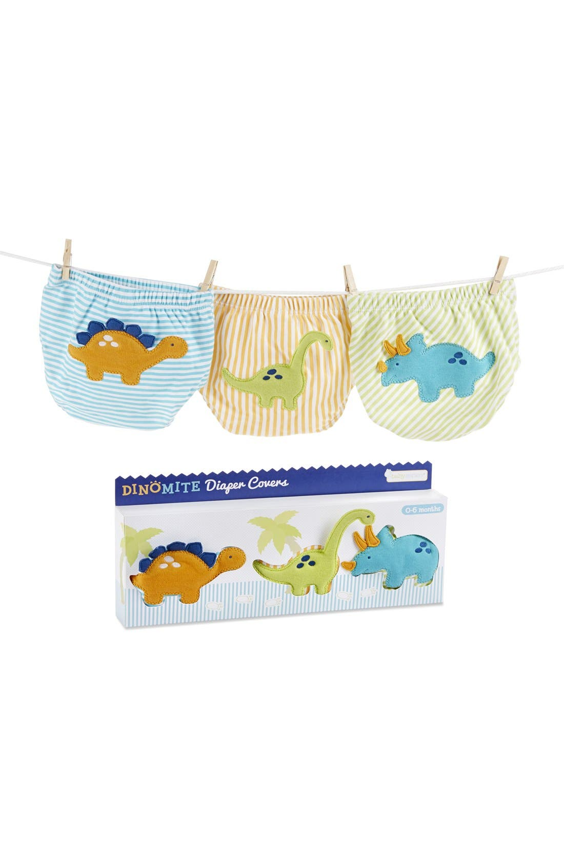 Alternate Image 1 Selected - Baby Aspen 'Dinomite' Diaper Covers (3-Pack) (Baby)