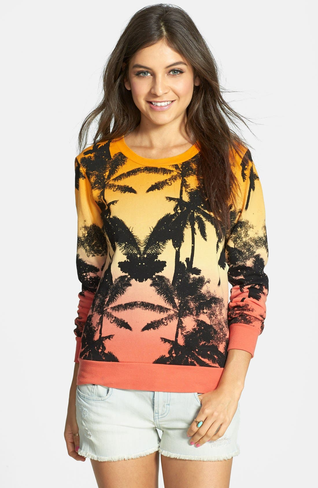 Alternate Image 1 Selected - Volcom 'All Mine' Palm Print Pullover (Juniors)