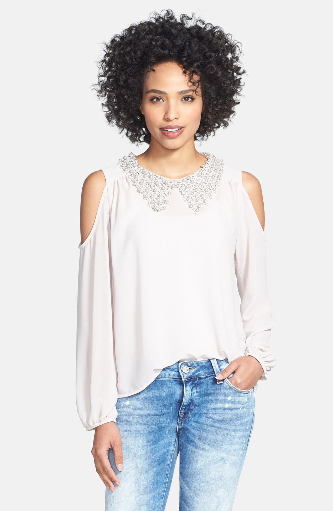 Alternate Image 1 Selected - Nikki Rich Beaded Collar Cold Shoulder Blouse