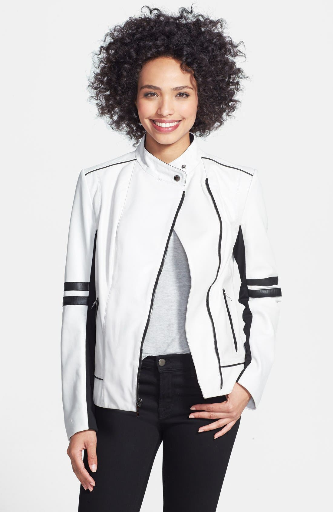 Alternate Image 1 Selected - Laundry by Shelli Segal Two-Tone Leather Moto Jacket