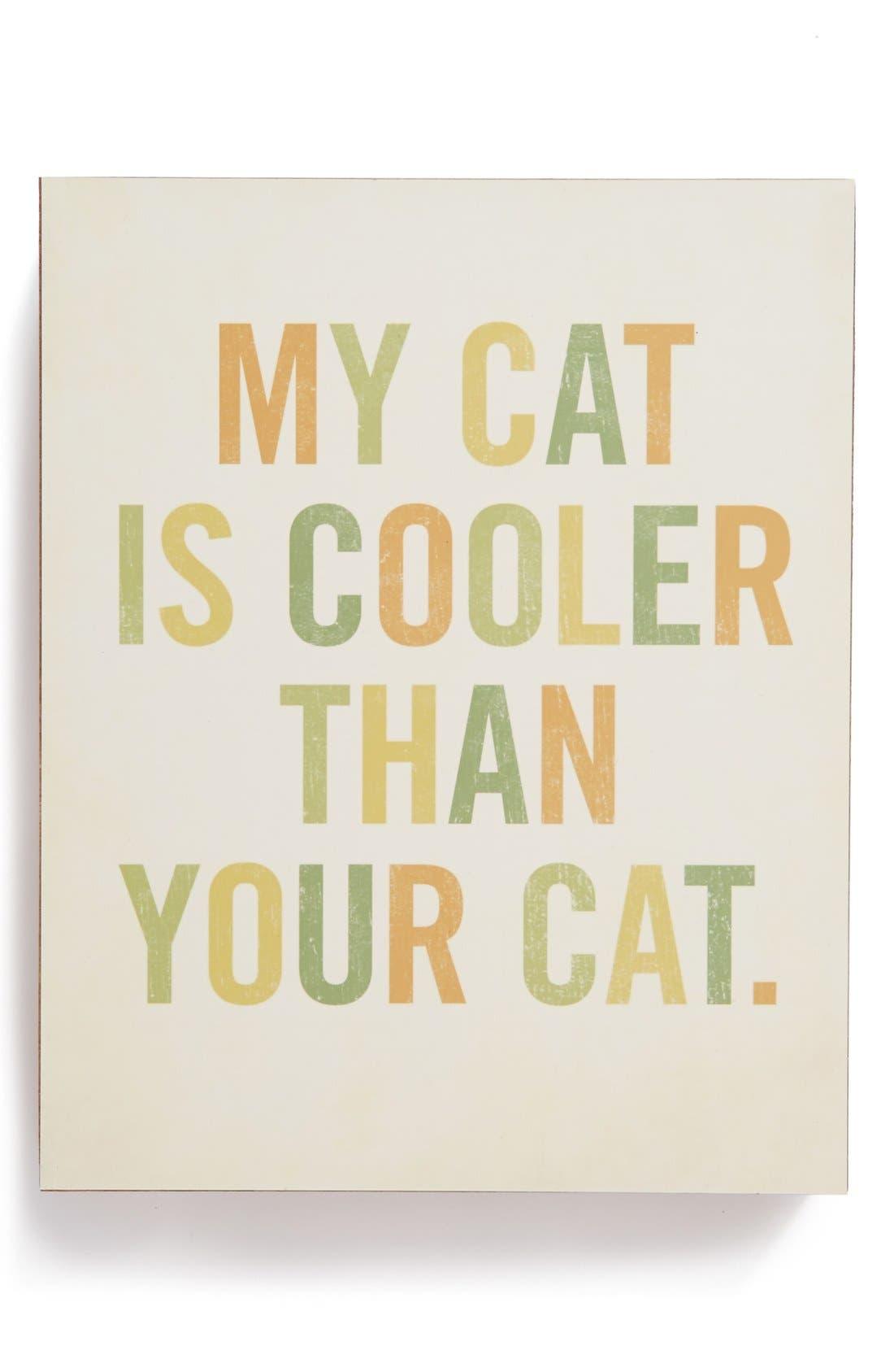 Main Image - Lucius Designs 'My Cat Is Cooler' Wood Block Art