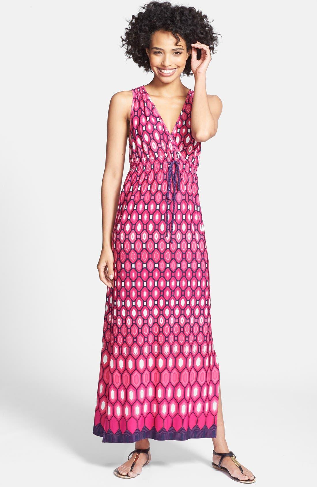 Alternate Image 1 Selected - Laundry by Shelli Segal Print Surplice V-Neck Maxi Dress