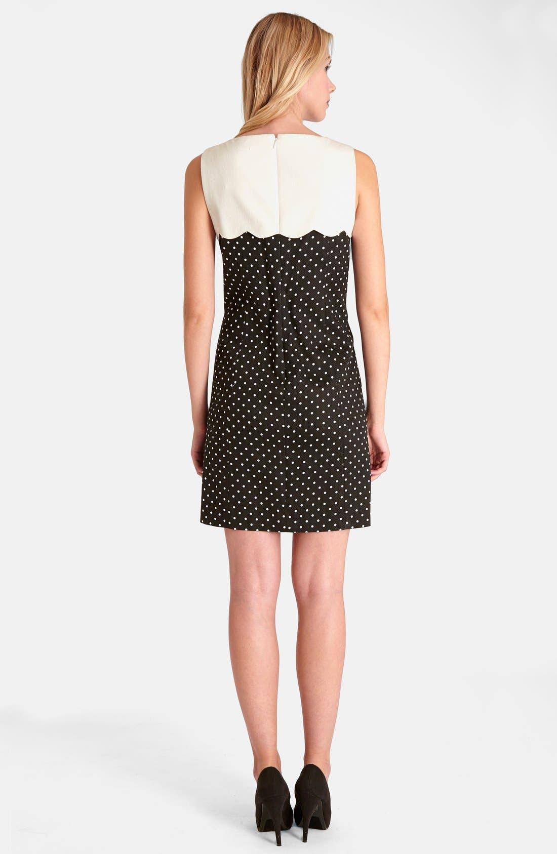 Alternate Image 2  - Tahari Polka Dot Shift Dress (Petite)