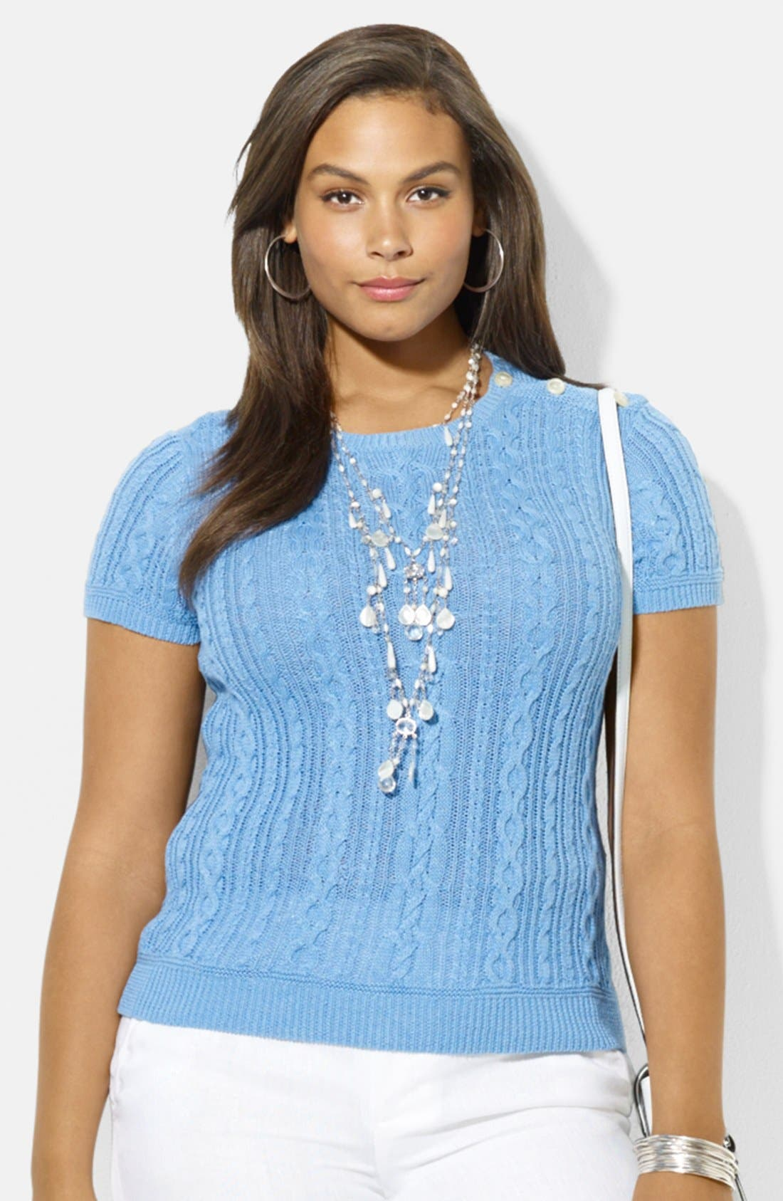 Alternate Image 1 Selected - Lauren Ralph Lauren Button Shoulder Crewneck Cable Knit Sweater (Plus Size)