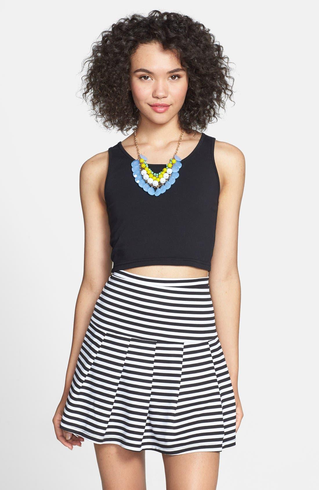 Main Image - Lily White Stripe Pleat Skirt (Juniors)