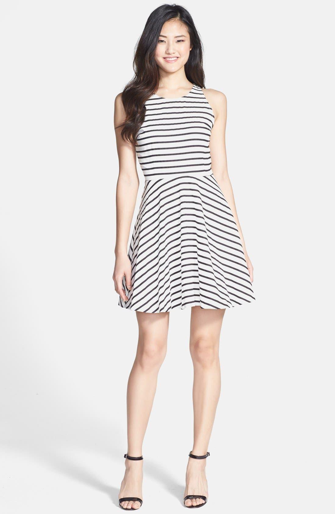 Back Cutout Stripe Cotton Sateen Fit & Flare Dress,                             Alternate thumbnail 3, color,                             Black/ White
