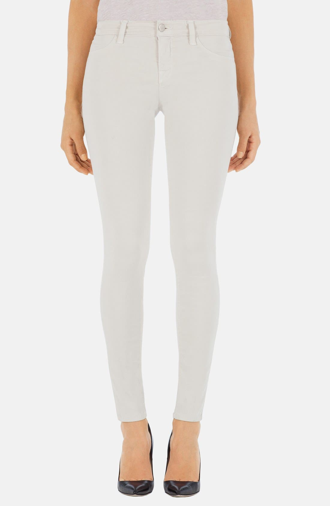 Main Image - J Brand '485' Mid Rise Super Skinny Jeans (Chalk)