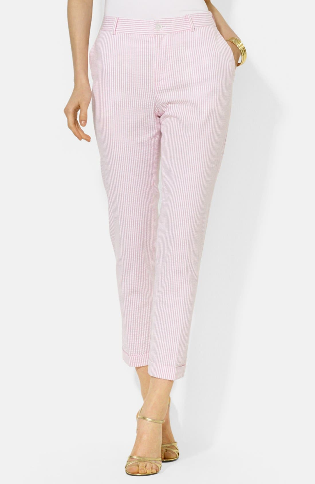 Main Image - Lauren Ralph Lauren Stretch Seersucker Straight Leg Pants