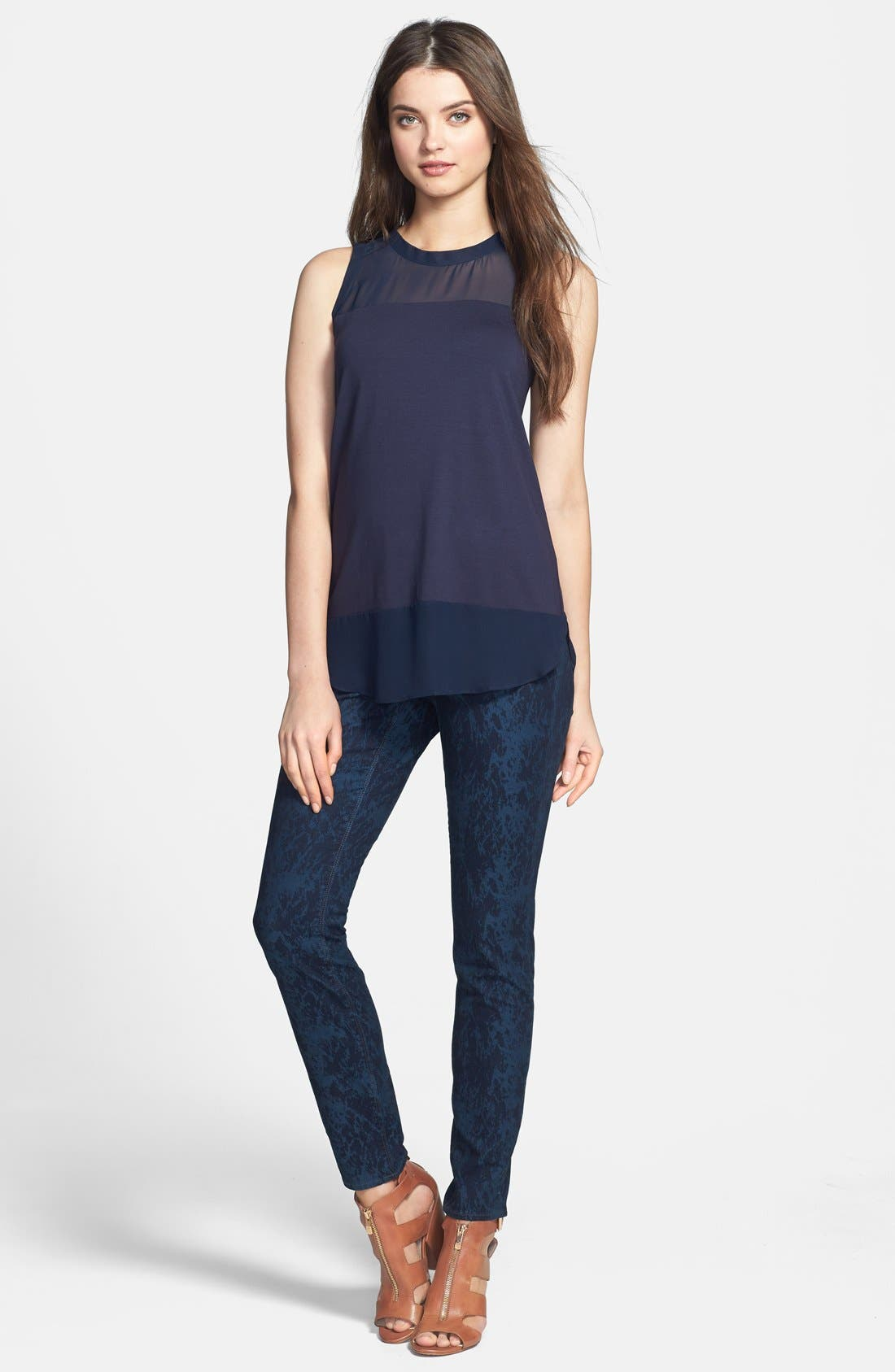Alternate Image 4  - Two by Vince Camuto 'Paint Splattered' Print Skinny Jeans (Blue Night)