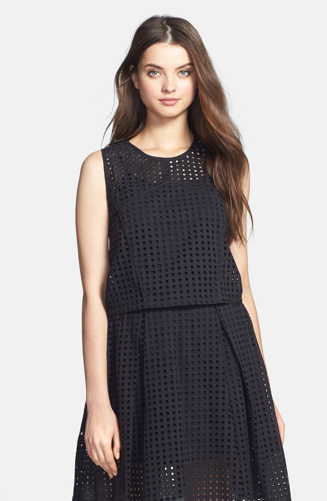 Alternate Image 1 Selected - Vince Camuto Square Eyelet Crop Blouse