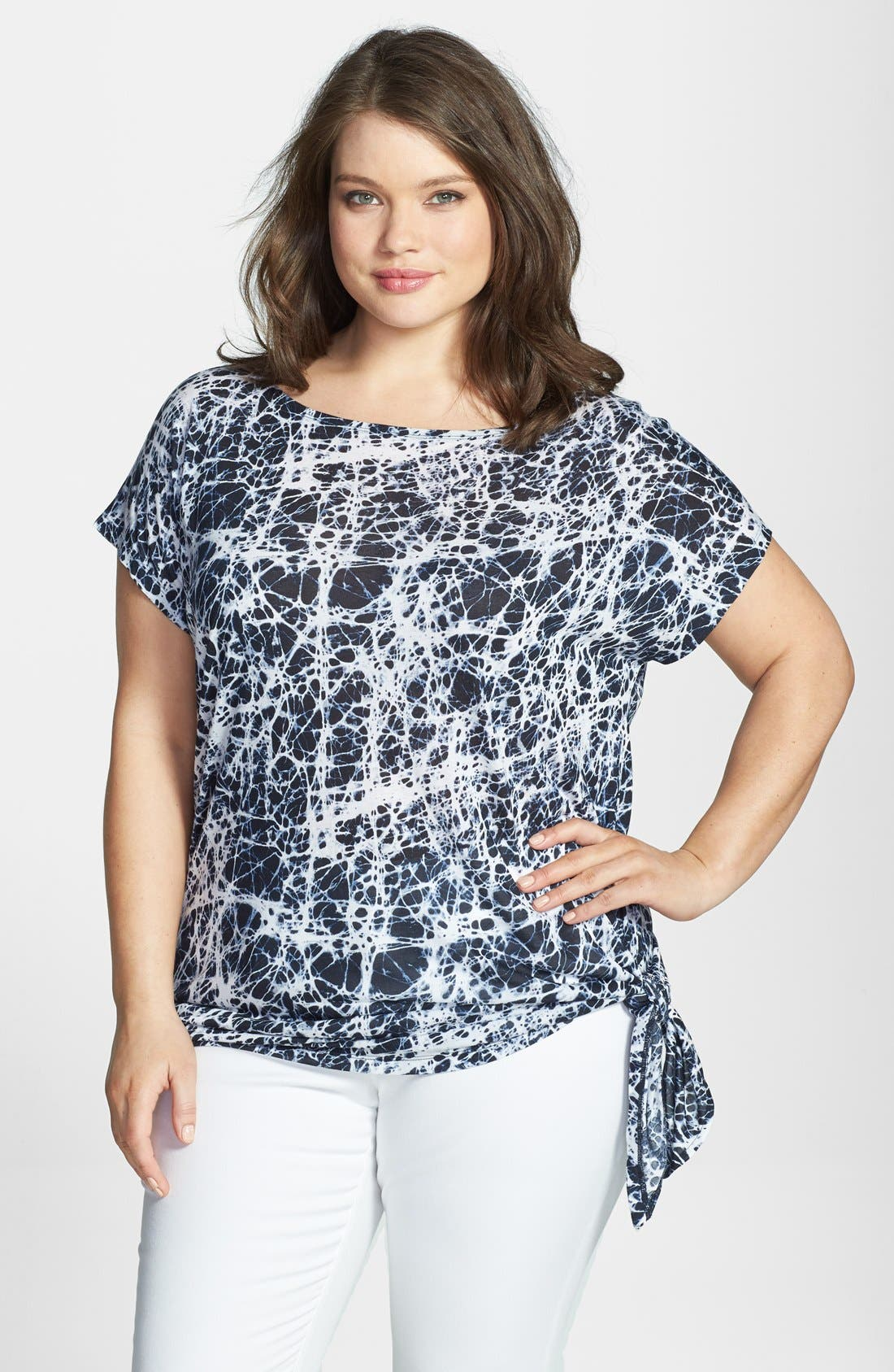 Alternate Image 1 Selected - MICHAEL Michael Kors Print Flutter Sleeve Side Tie Top (Plus Size)