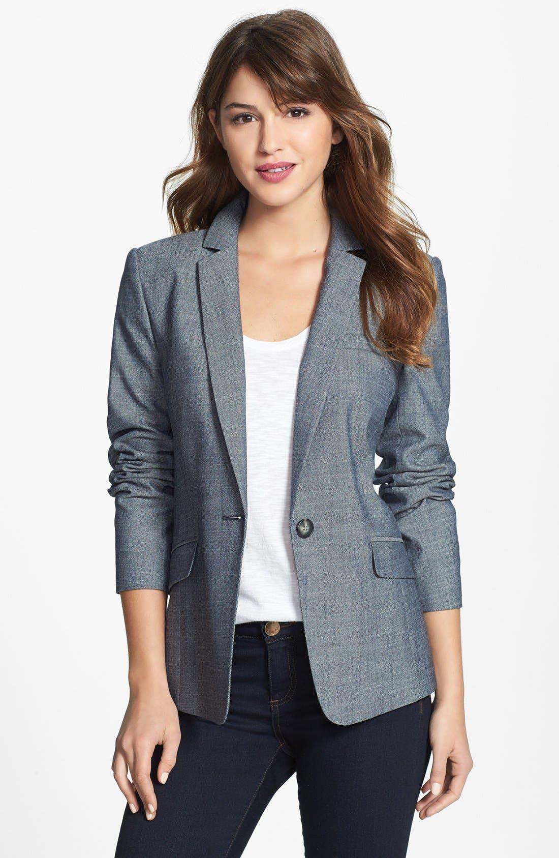 Alternate Image 1 Selected - Halogen® 'Indigo Crosshatch' Single-Button Suit Jacket