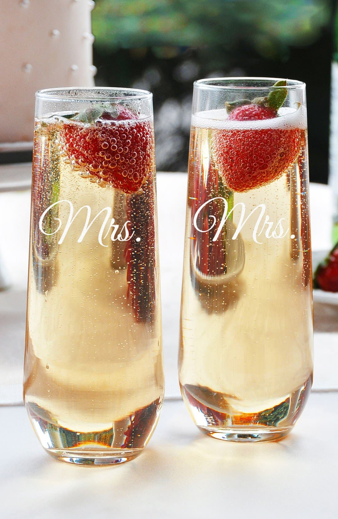Main Image - Cathy's Concepts 'For the Couple' Stemless Champagne Flutes (Set of 2)