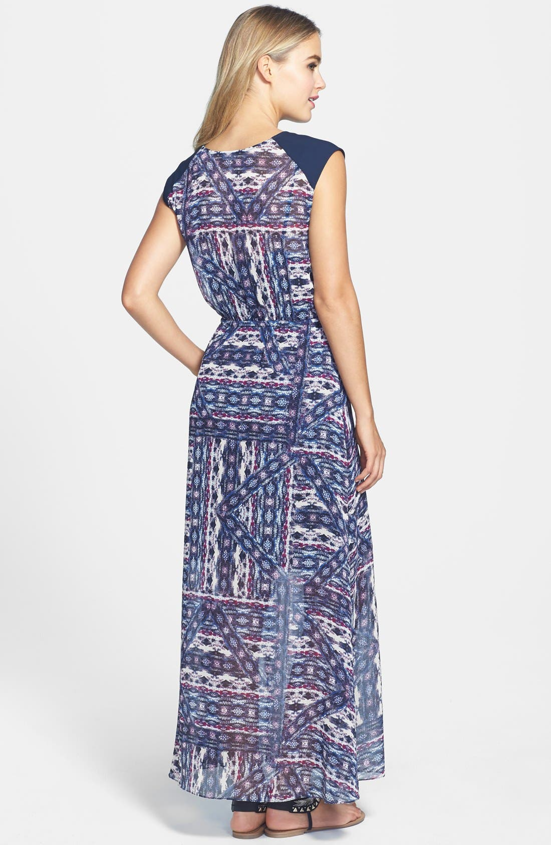 Alternate Image 2  - Vince Camuto 'Tribal Patchwork' Tie Waist Maxi Dress (Regular & Petite)