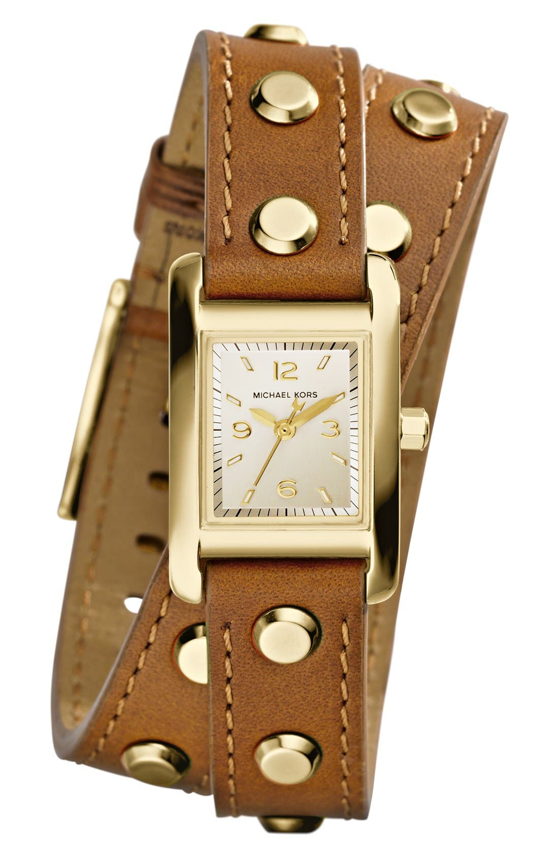 Alternate Image 1 Selected - Michael Kors 'Mini Taylor' Studded Leather Strap Wrap Watch, 22mm