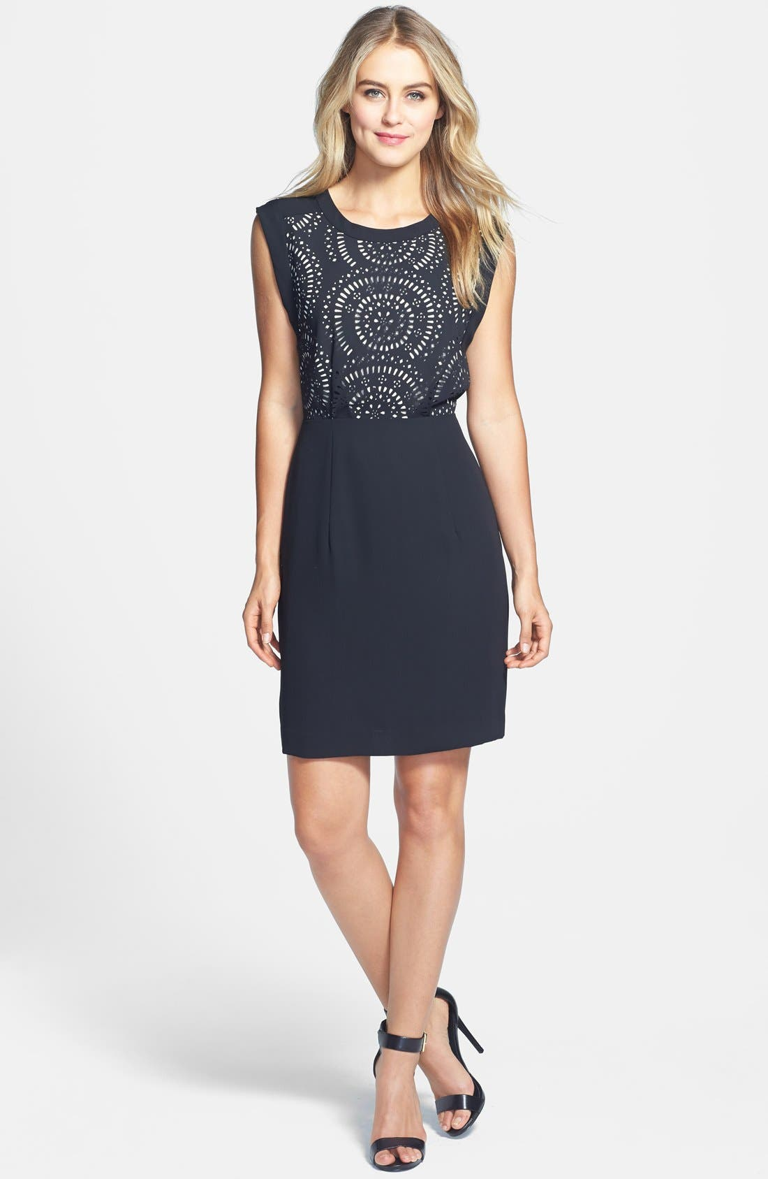 Alternate Image 1 Selected - Vince Camuto Laser Cut Dress