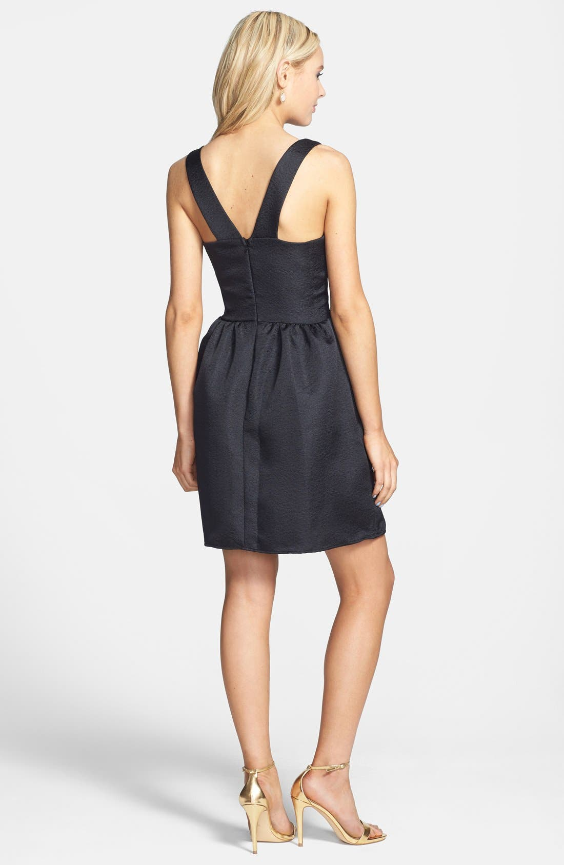 Alternate Image 2  - Everly Embossed Fit & Flare Dress (Juniors)