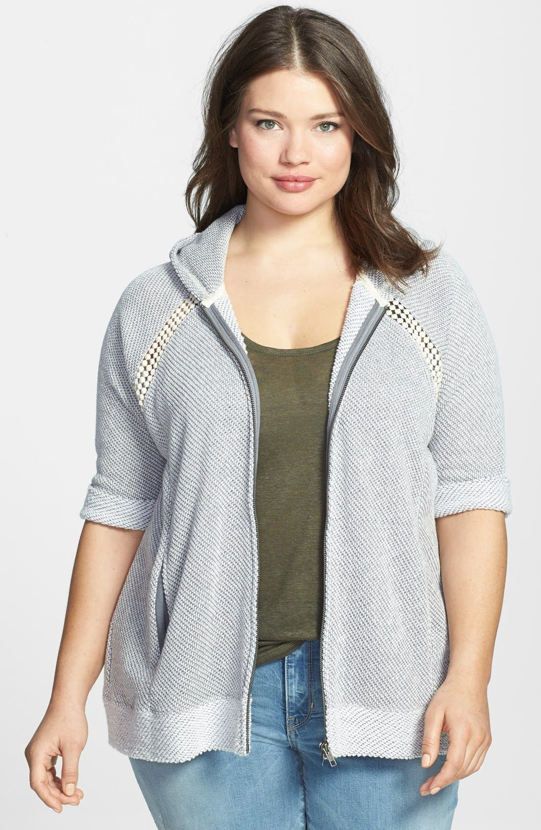 Main Image - Lucky Brand Crochet Zip Hoodie (Plus Size)