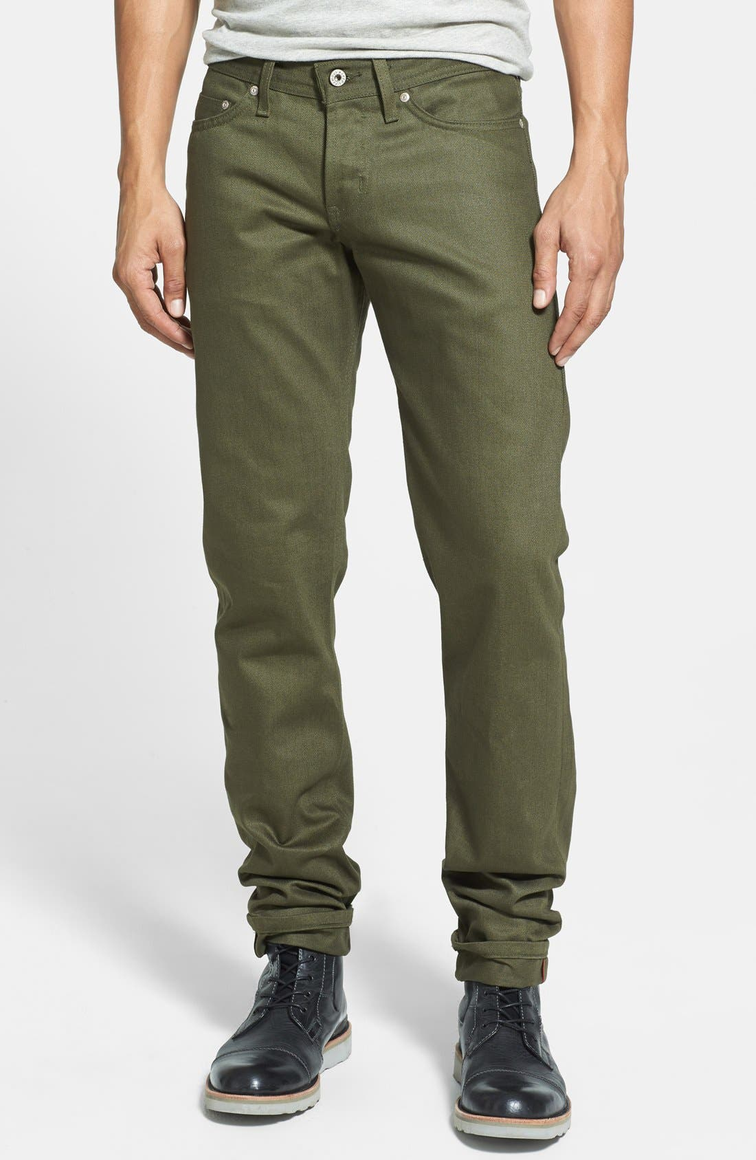 'Weird Guy' Slim Fit Jeans,                             Main thumbnail 1, color,                             Khaki Green Selvedge Chino