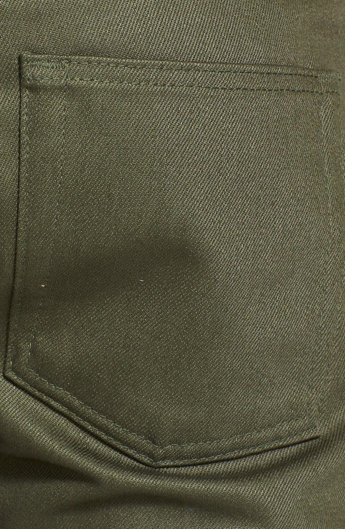 'Weird Guy' Slim Fit Jeans,                             Alternate thumbnail 4, color,                             Khaki Green Selvedge Chino