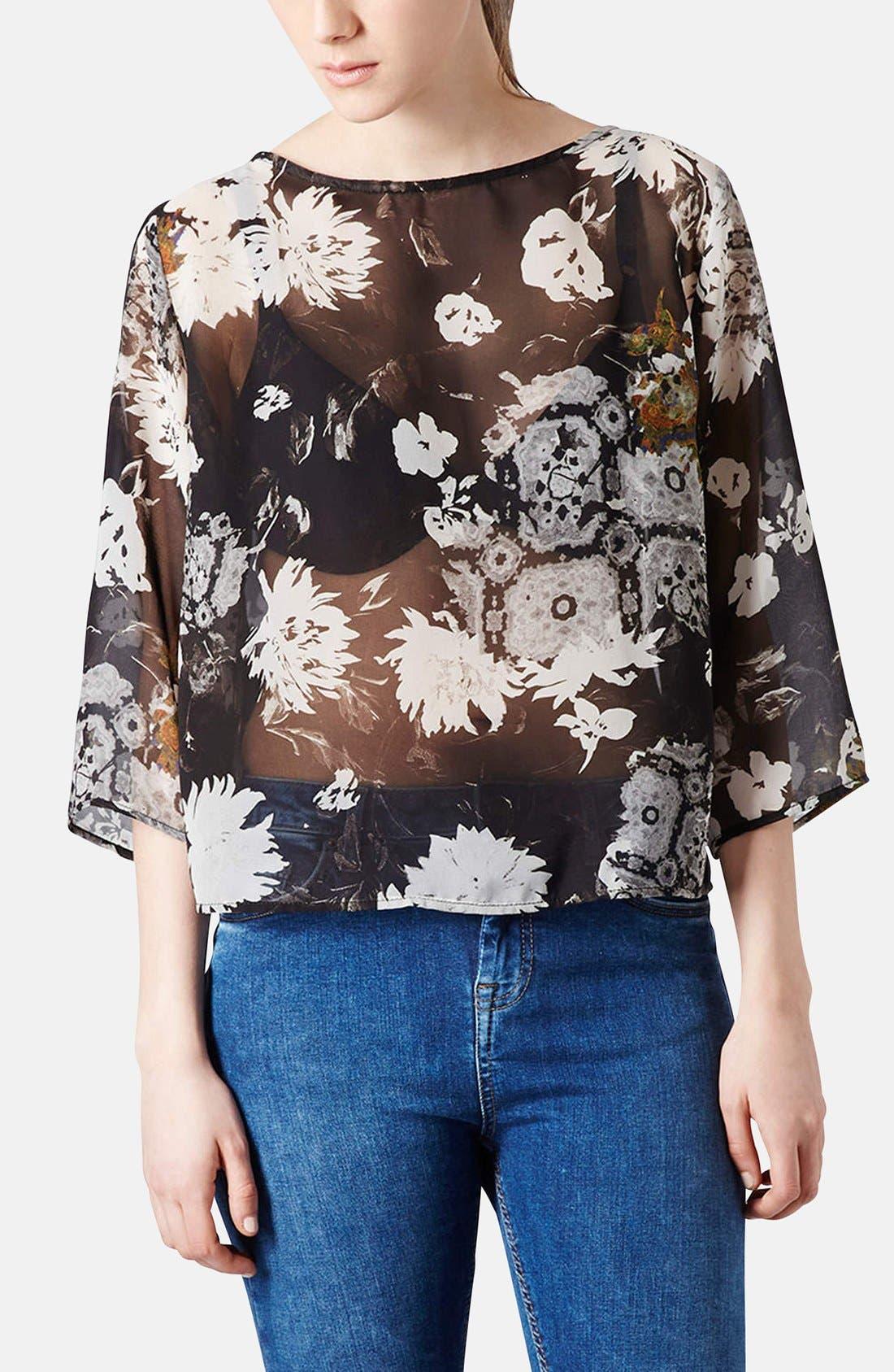 Main Image - Topshop Floral Drape Back Blouse