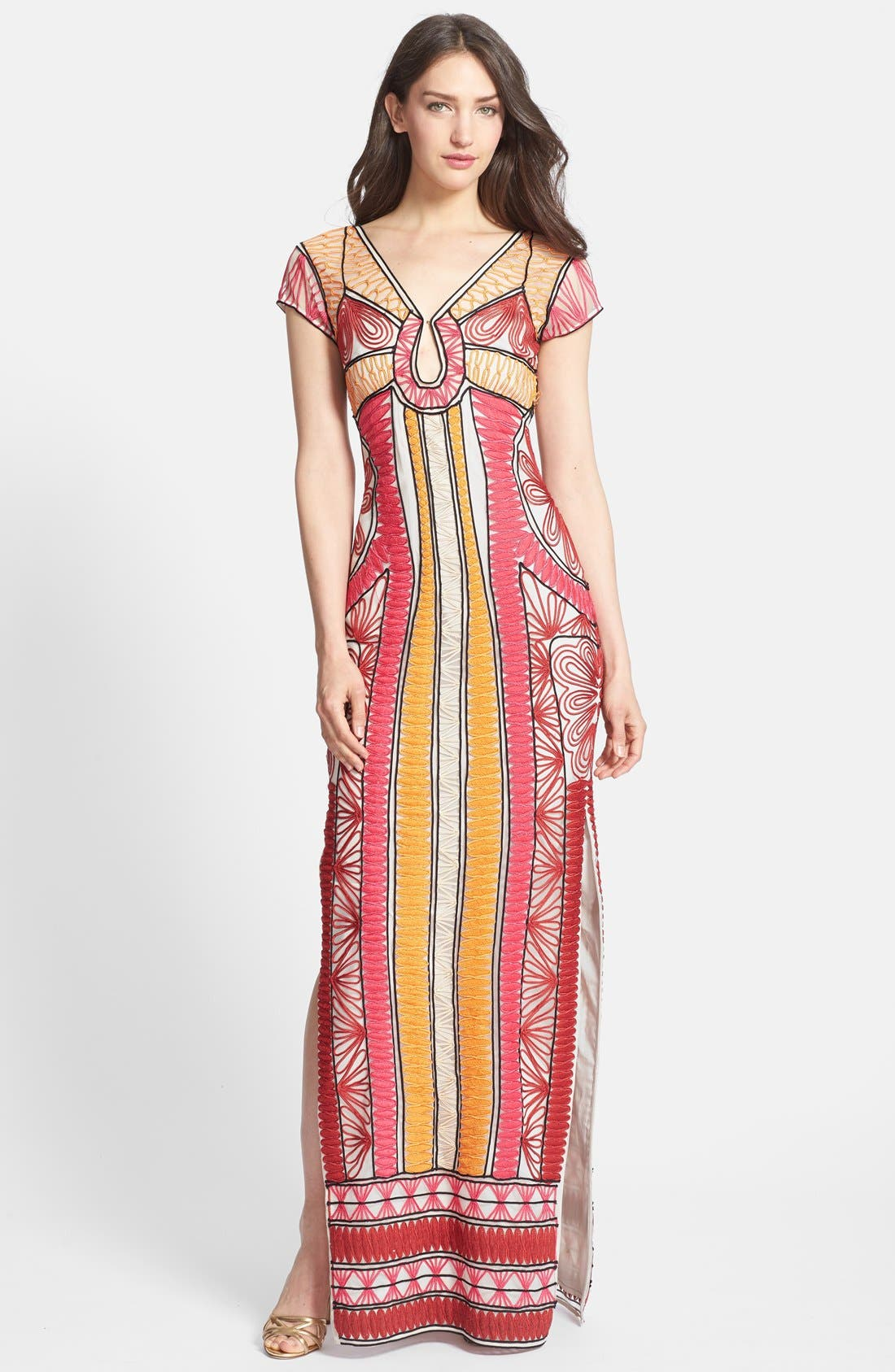 Alternate Image 1 Selected - Diane von Furstenberg 'Ellison Passementry' Embellished Woven Column Gown