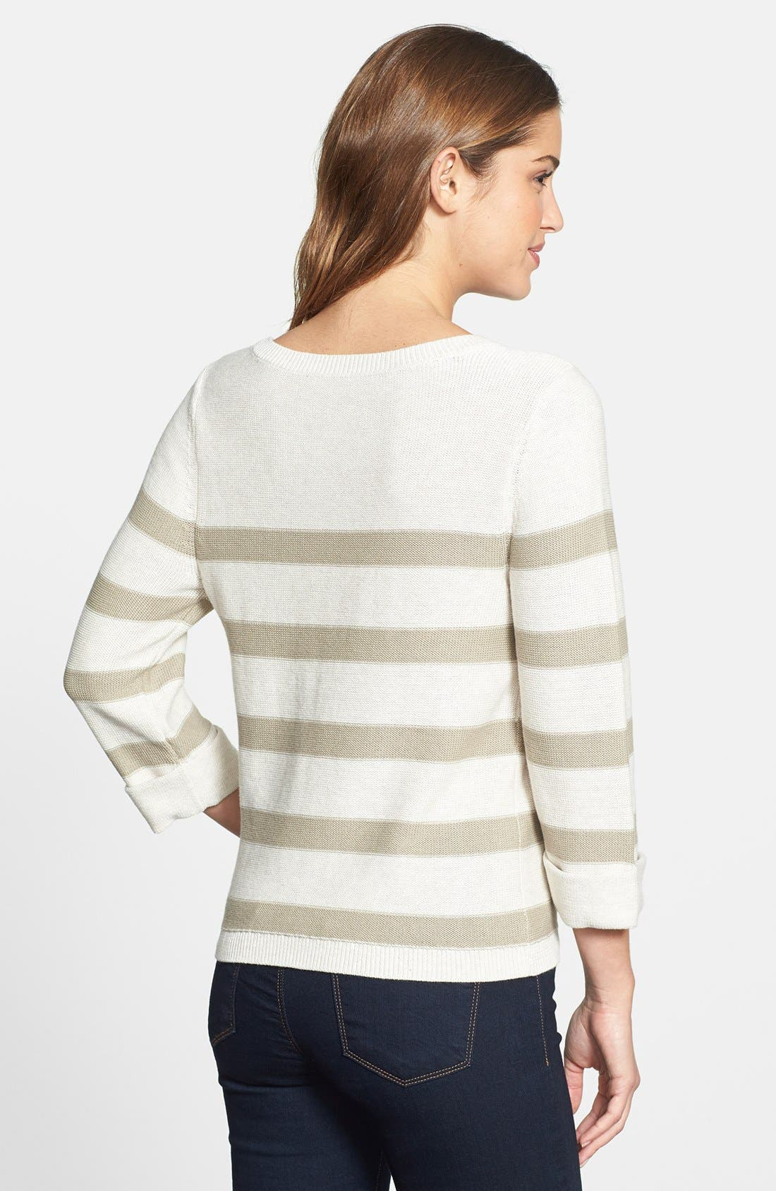 Three Quarter Sleeve Stripe Cotton Sweater,                             Alternate thumbnail 2, color,                             Oatmeal/ Morel Stripe