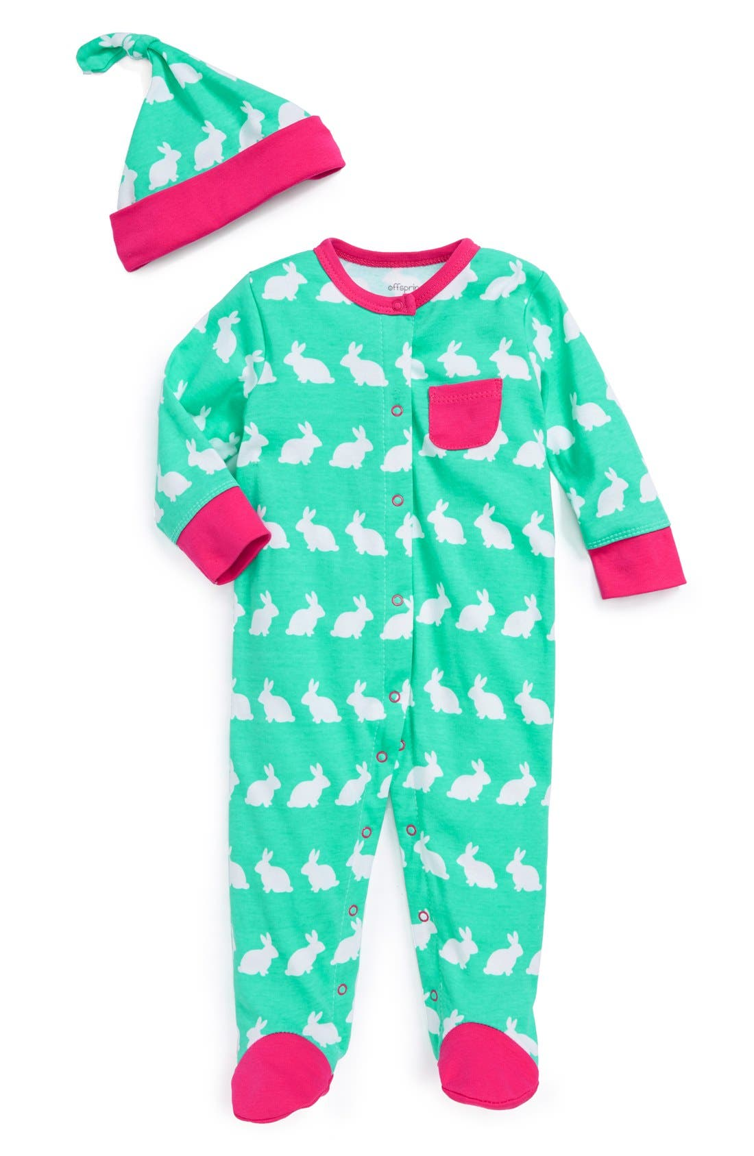 Alternate Image 1 Selected - Offspring 'Bunny' One-Piece & Hat (Baby Girls)